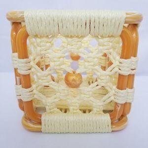 Vintage Macrame Tissue Box Holder Small Square